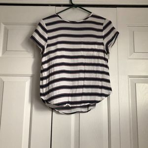 H&M Navy/Red Striped Short Sleeve Blouse Size 6